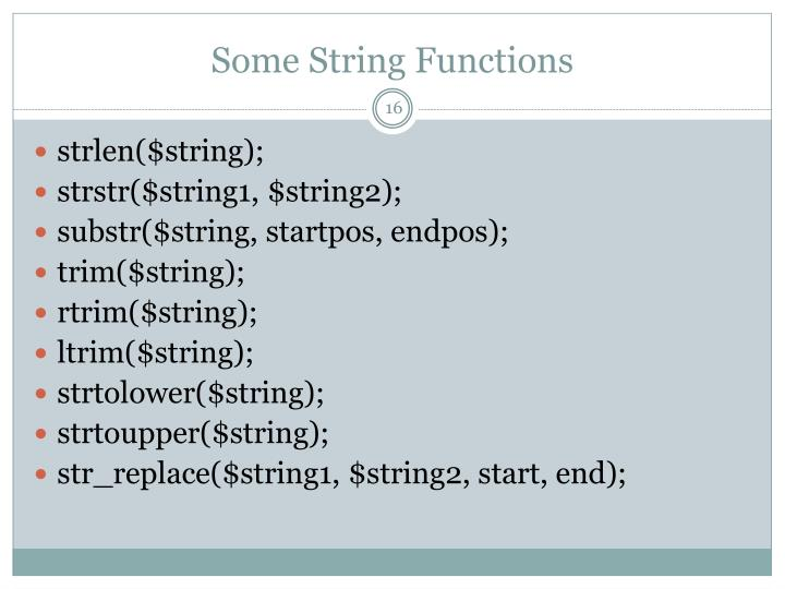 Some String Functions