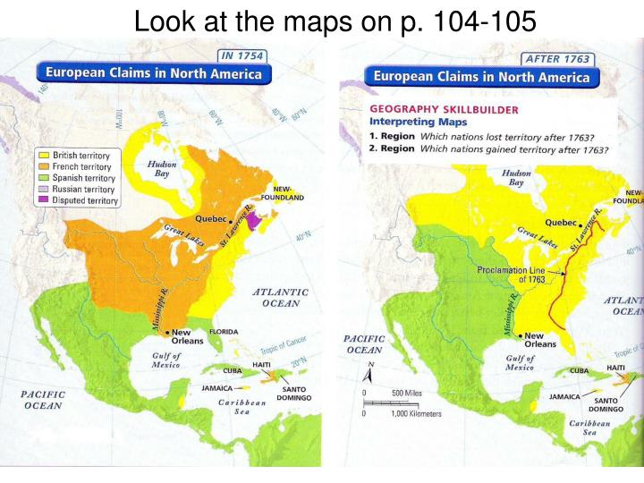 Look at the maps on p. 104-105
