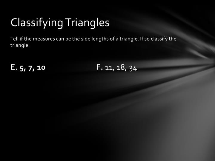 Classifying Triangles