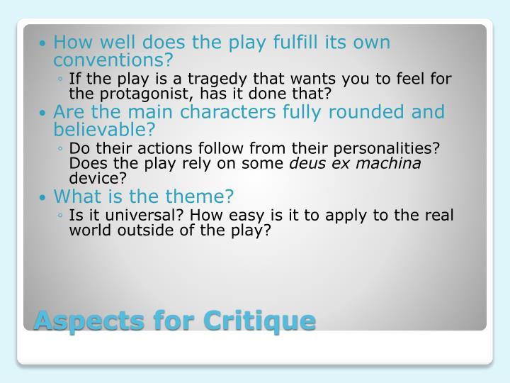 Aspects for critique