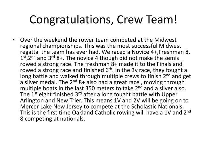 Congratulations, Crew Team!
