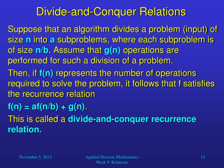 Divide-and-Conquer Relations