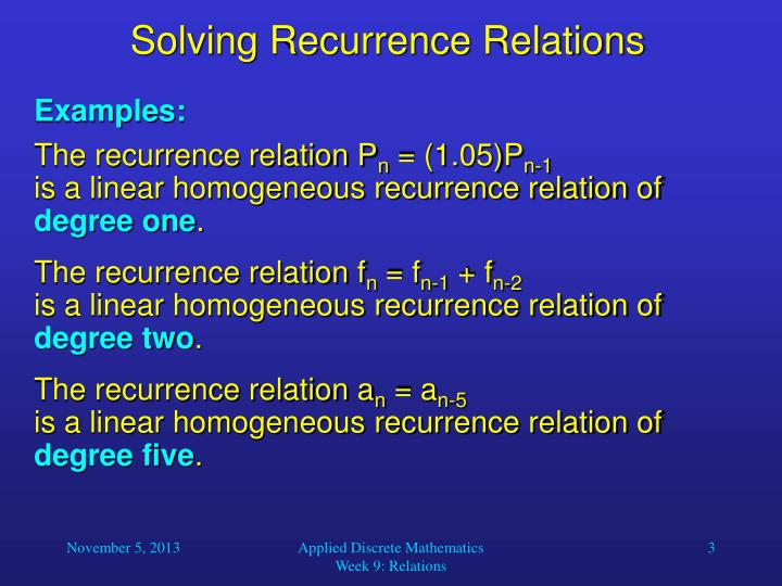 Solving recurrence relations2