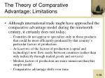 the theory of comparative advantage limitations
