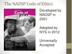 the nadsp code of ethics
