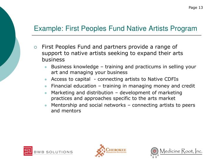 Example: First Peoples Fund Native Artists Program