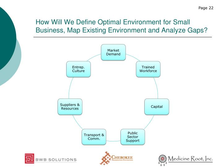 How Will We Define Optimal Environment for Small Business, Map Existing Environment and Analyze Gaps?
