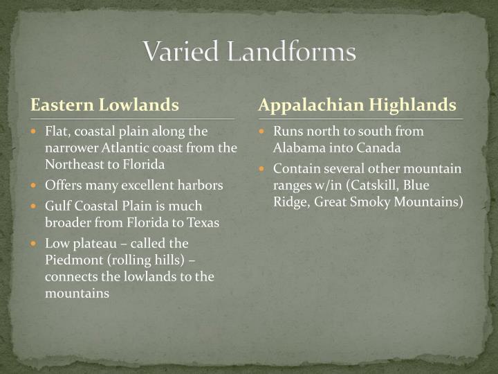 Varied Landforms