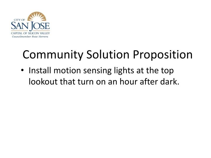 Community Solution Proposition