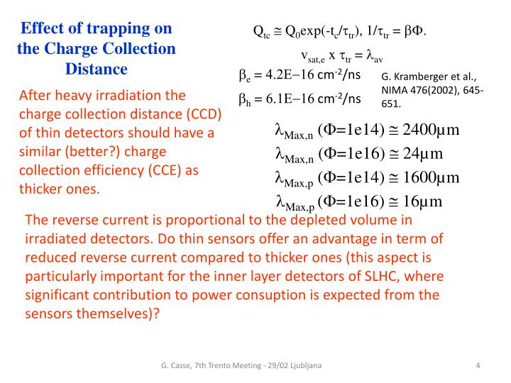 Effect of trapping on the Charge Collection Distance
