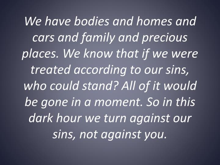 We have bodies and homes and cars and family and precious places. We know that if we were treated according to our sins, who could stand? All of it would be gone in a moment. So in this dark hour we turn against our sins, not against you.