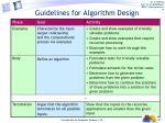 guidelines for algorithm design