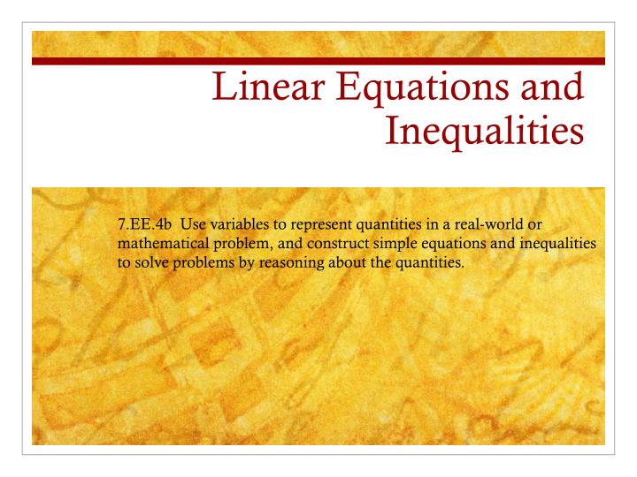linear equations and inequalities n.