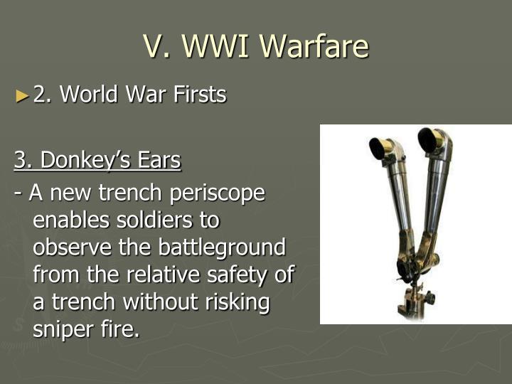 V. WWI Warfare