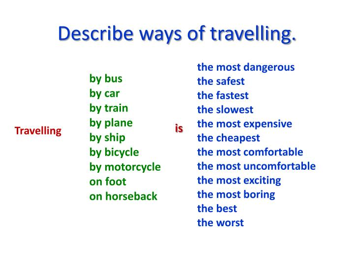 Describe ways of travelling.