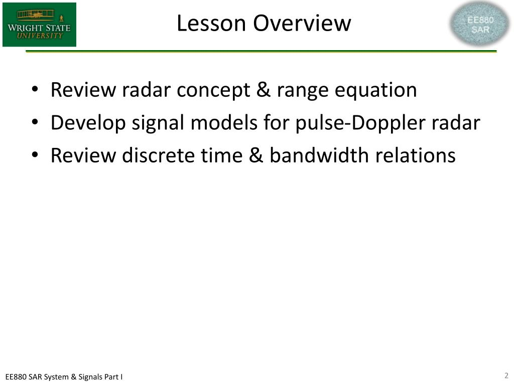 PPT - SAR System and Signals Part 1 EE880 Synthetic Aperture Radar