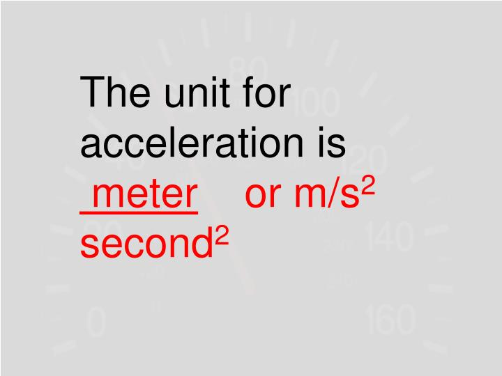 The unit for acceleration is