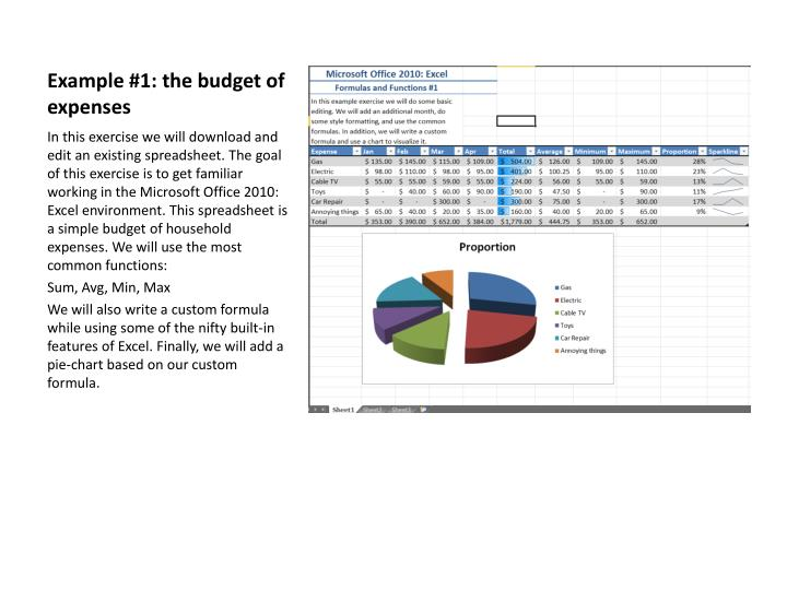 Example #1: the budget of expenses