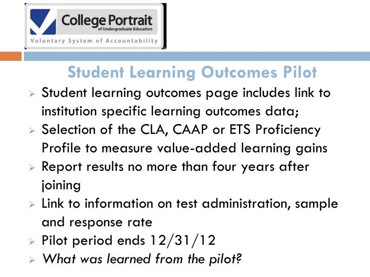 Student Learning Outcomes Pilot