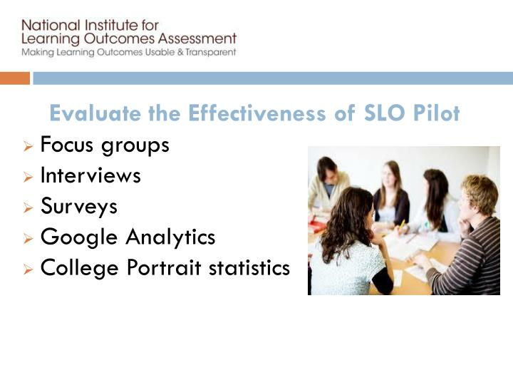 Evaluate the Effectiveness of SLO Pilot
