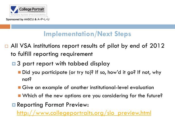 Implementation/Next Steps