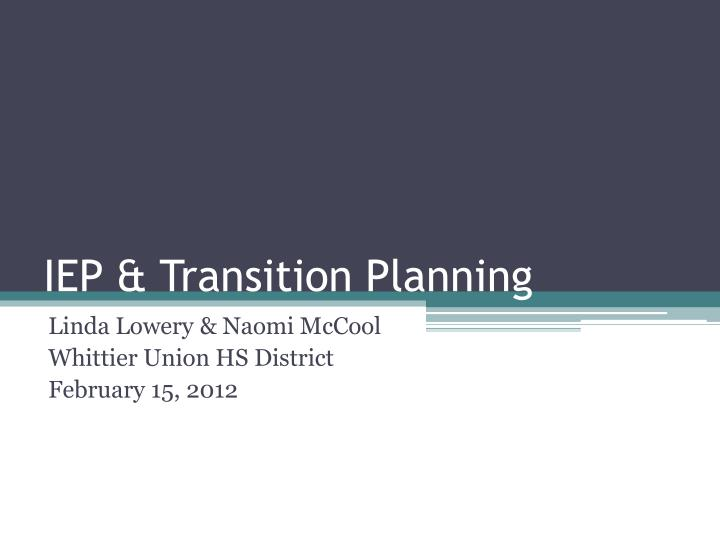 iep transition planning n.