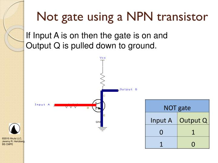 Not gate using a NPN transistor