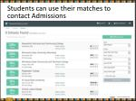 students can use their matches to contact admissions