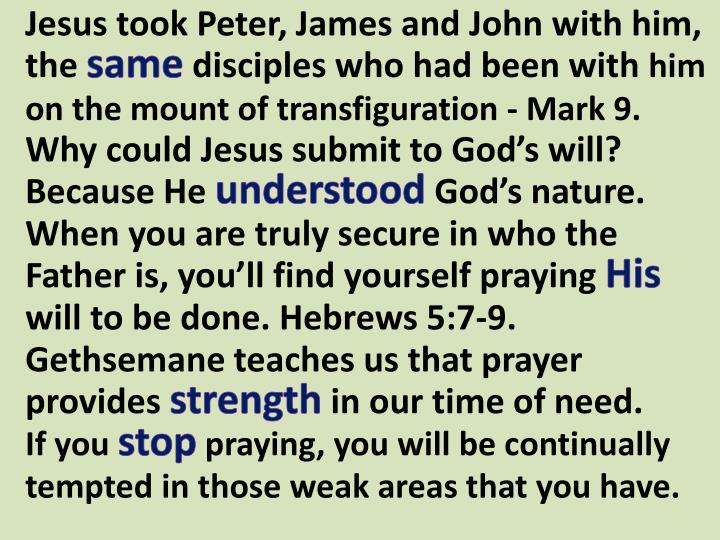 Jesus took Peter, James and John with him, the
