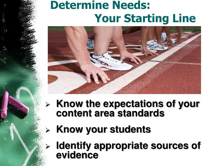 Determine Needs: 				Your Starting Line