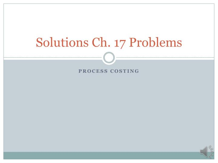 solutions ch 17 problems