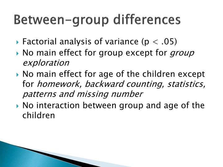 Between-group differences