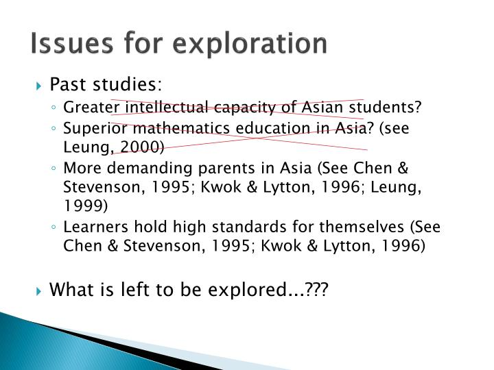 Issues for exploration