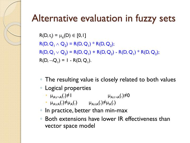 Alternative evaluation in fuzzy sets