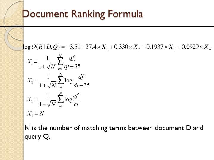 Document Ranking Formula