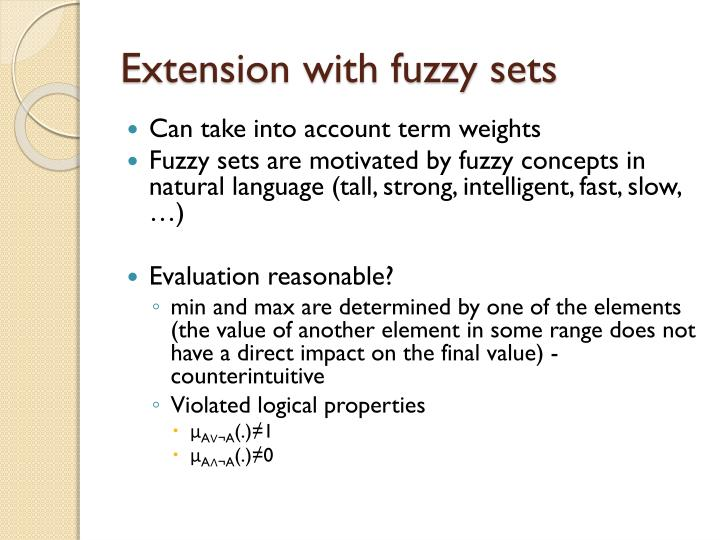 Extension with fuzzy sets