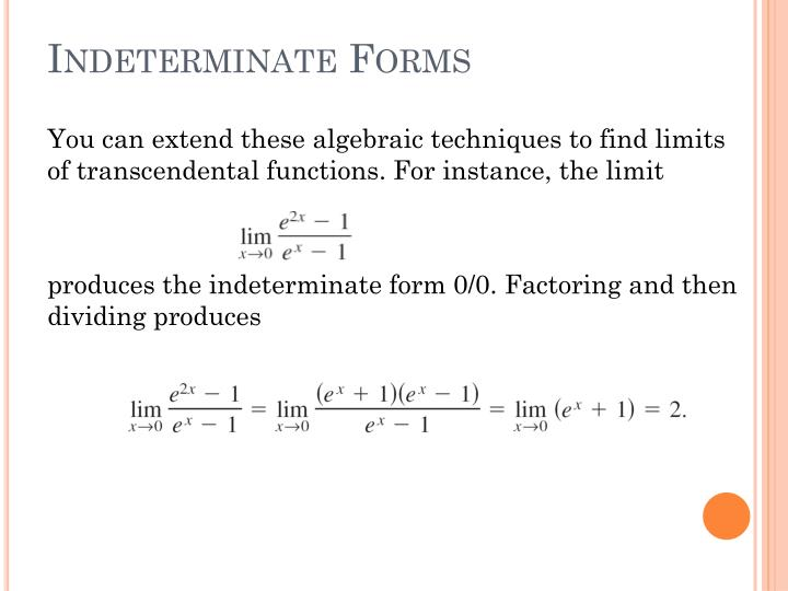 Indeterminate forms1