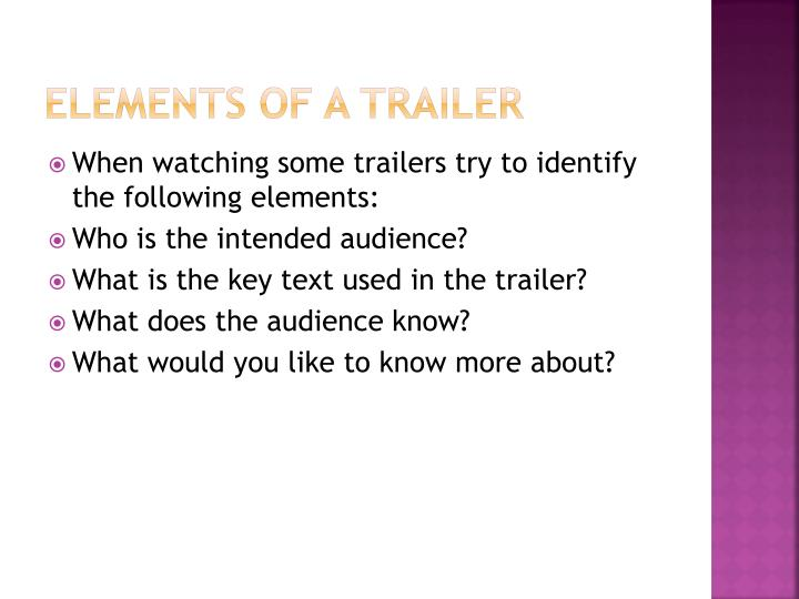 Elements of a trailer