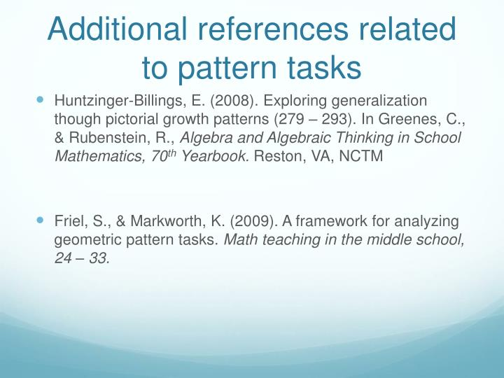 Additional references related to pattern tasks