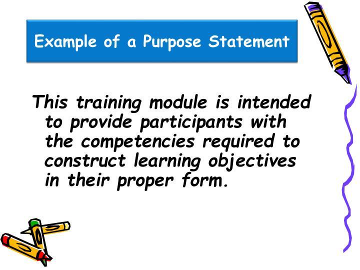 Example of a Purpose Statement