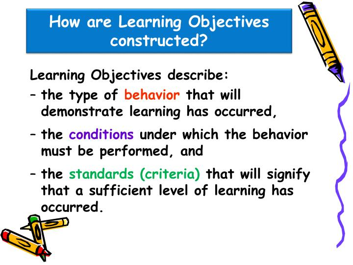 How are Learning Objectives constructed?