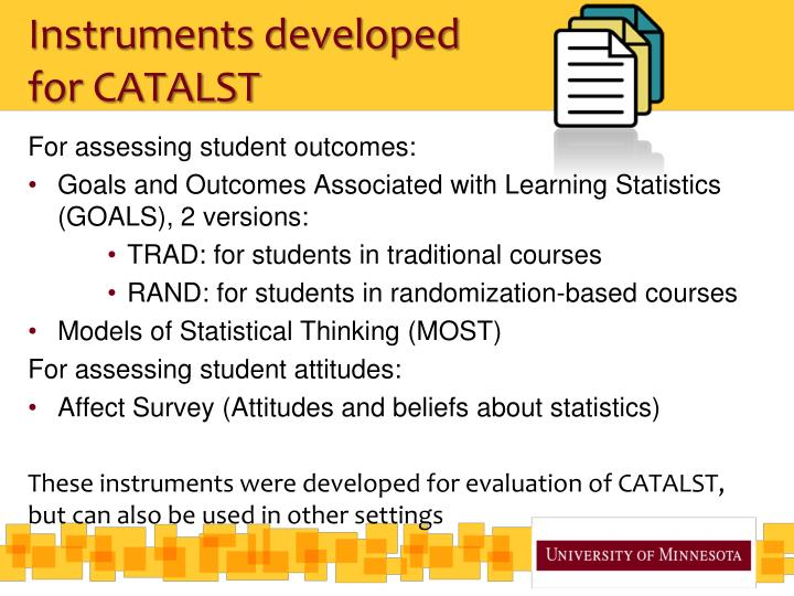 Instruments developed