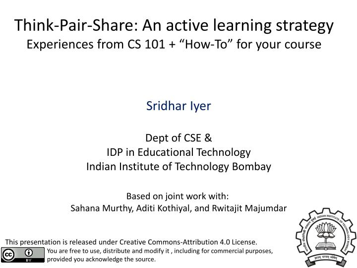 think pair share an active learning strategy experiences from cs 101 how to for your course n.