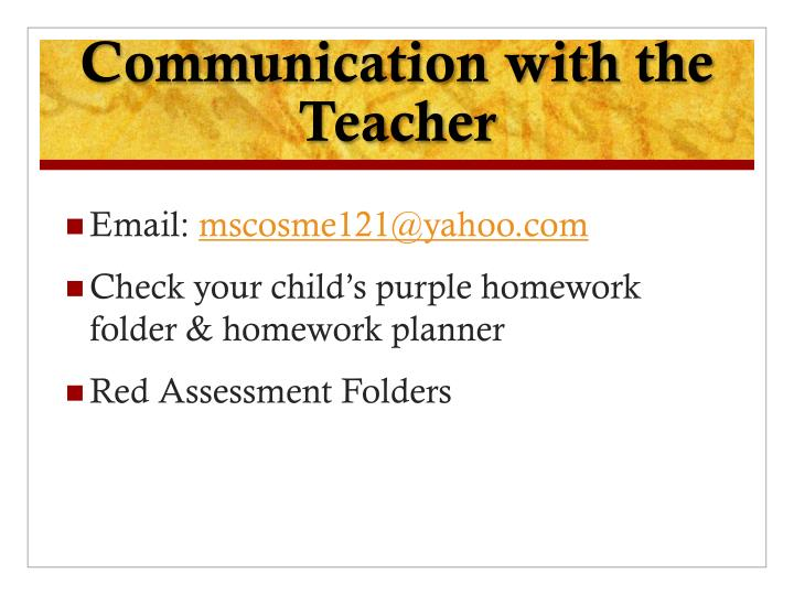 Communication with the Teacher