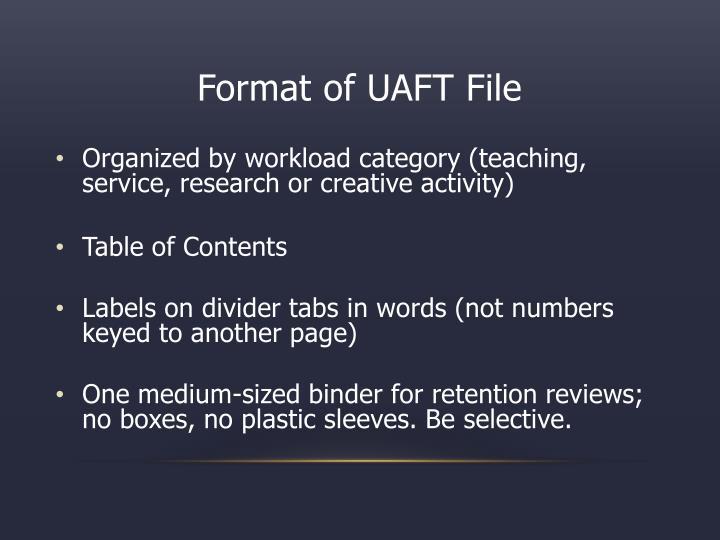 Format of UAFT File