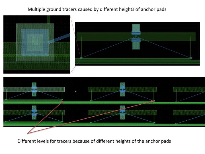 Multiple ground tracers caused by different heights of anchor pads