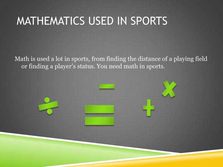 Mathematics used in sports