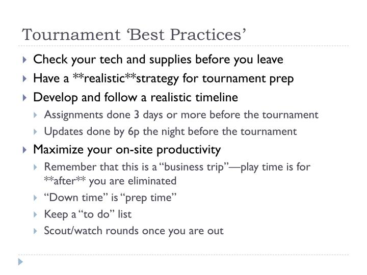 Tournament 'Best Practices'