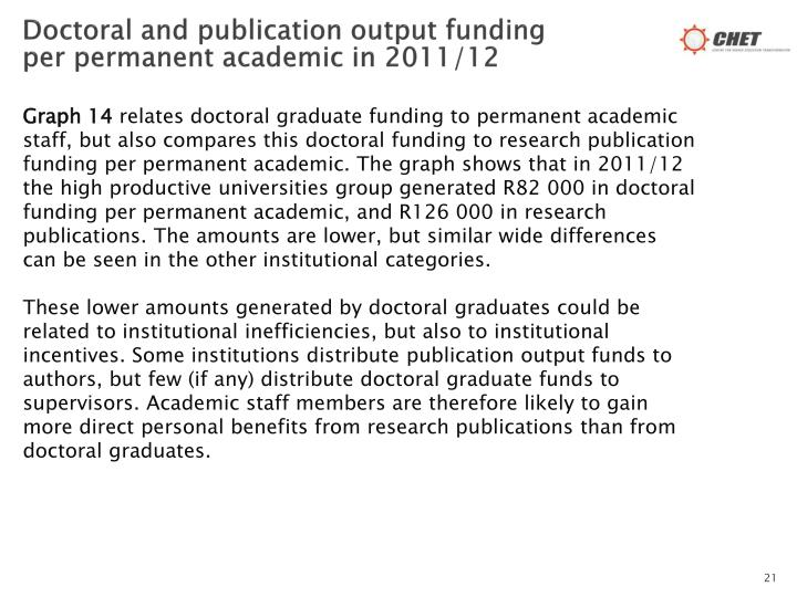 Doctoral and publication output funding per permanent academic in 2011/12