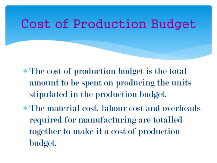 Cost of Production Budget